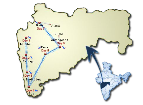 Deccan Odyssey Route map